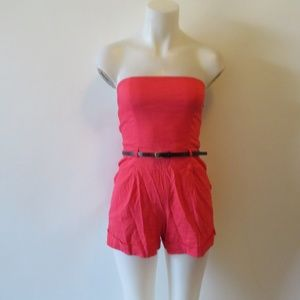 THEORY CORAL BREE STRAPLESS ROMPER SHORTS SZ 00 *